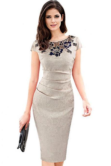 Vintage Lace Wear to Work Dress Women Short Sleeve Sheath Bodycon Office Pencil Dress champagne