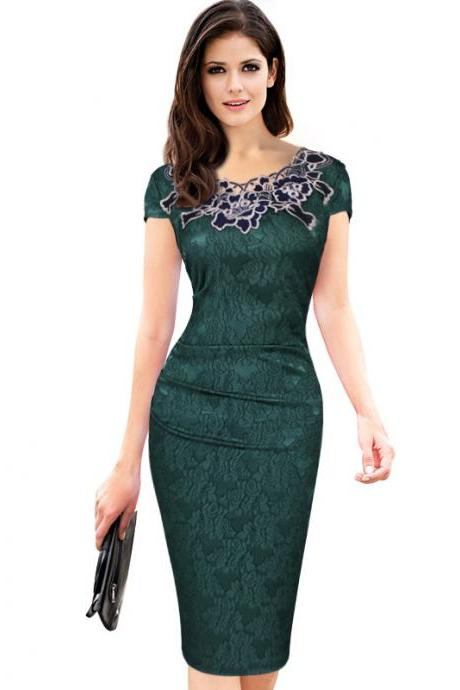 Vintage Lace Wear to Work Dress Women Short Sleeve Sheath Bodycon Office Pencil Dress green