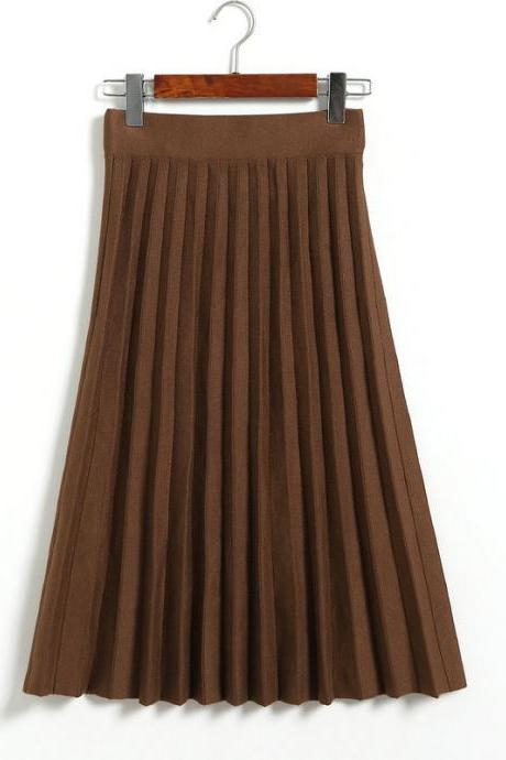 Fashion Knitted Pleated Skirt Autumn Winter High Waist Below Knee Midi A Line Office Skirt khaki