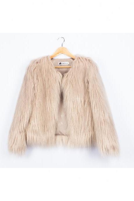 Plus Size 4XL Women Fluffy Faux Fur Coats Long Sleeve Winter Warm Jackets Female Outerwear light khaki
