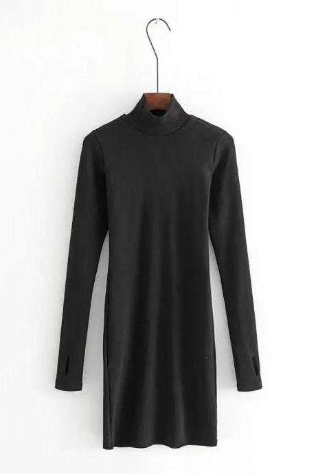 Long Sleeve Mini Dress Sexy Slim Sheath Bodycon High Neck Women Cocktail Club Party Dress black