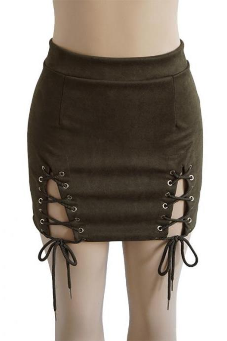 Women Faux Suede Mini Skirt Classic Sexy Bandage High Waist Lace Up Bodycon Short Pencil Skirt army green