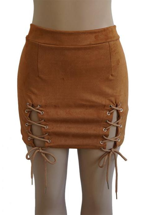Women Faux Suede Mini Skirt Classic Sexy Bandage High Waist Lace Up Bodycon Short Pencil Skirt khaki