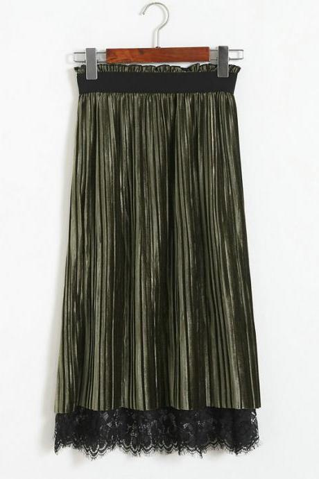 Women Pleated Skirt High Waist Autumn Winter Both Sides Elegant Pleuche Lace Midi Skirt army green