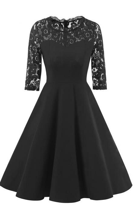 Vintage Floral Lace Patchwork Dress Women Half Sleeve A Line Cocktail Evening Party Dress black