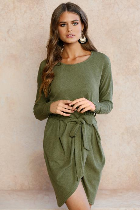 Women Autumn Mini Asymmetrical Dress Long Sleeve O Neck Belted Cocktail Party Club Dress army green