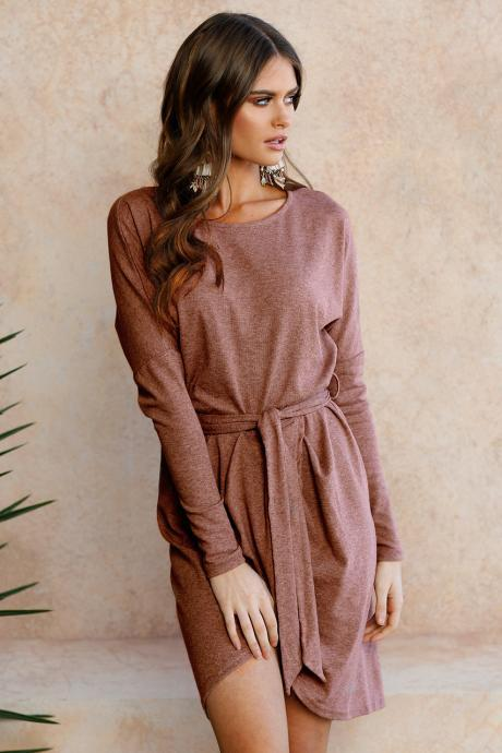 Women Autumn Mini Asymmetrical Dress Long Sleeve O Neck Belted Cocktail Party Club Dress coffee