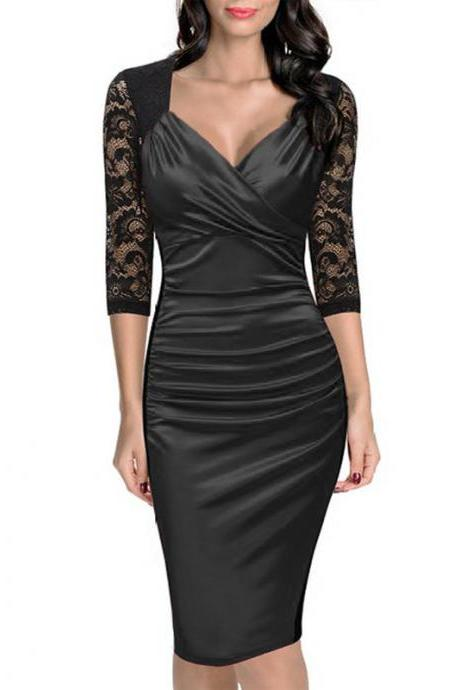 Women Bodycon Dress Sexy Lace Patchwork 3/4 Sleeve Wear to Work Sheath Office Party Pencil Dress black