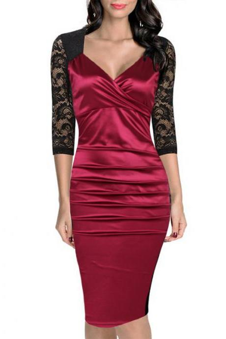 Women Bodycon Dress Sexy Lace Patchwork 3/4 Sleeve Wear to Work Sheath Office Party Pencil Dress dark red