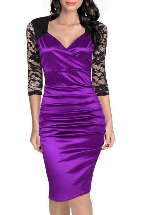 Women Bodycon Dress Sexy Lace Patchwork 3/4 Sleeve Wear to Work Sheath Office Party Pencil Dress purple