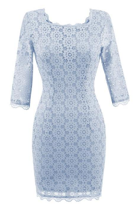 Vintage Lace Bodycon Pencil Dress Sexy Backless Square Collar 3/4 Sleeve Women Sheath Cocktail Party Dress baby blue