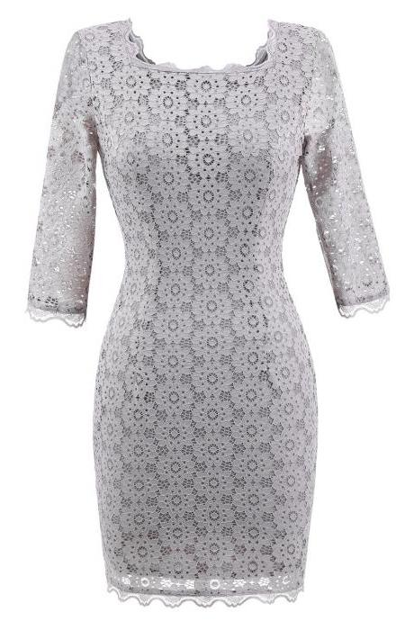 Vintage Lace Bodycon Pencil Dress Sexy Backless Square Collar 3/4 Sleeve Women Sheath Cocktail Party Dress gray