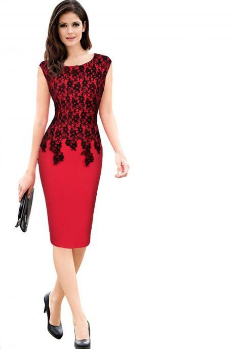 Plus Size Sleeveless Floral Lace Party Dress Sheath Business Office OL Bodycon Pencil Dress red