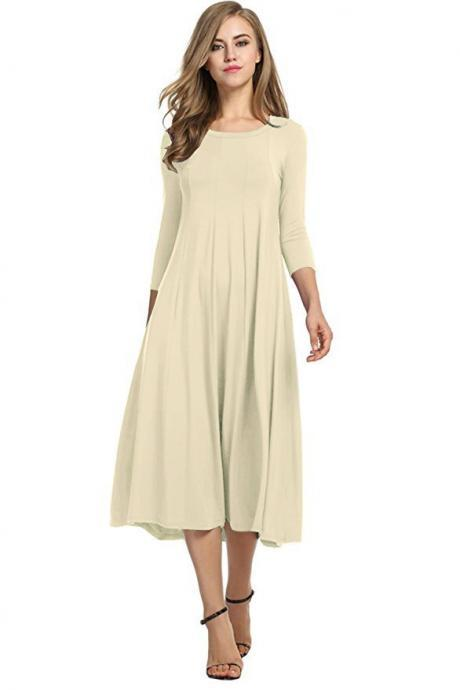 Women Casual Dress Spring Autumn Solid O Neck Long Sleeve Below Knee Loose A Line Swing Dress beige