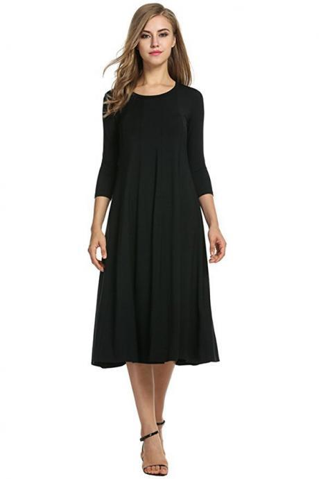 Black O-Neck Midi Swing Dress with Long Sleeves