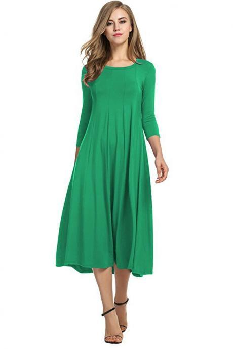 Women Casual Dress Spring Autumn Solid O Neck Long Sleeve Below Knee Loose A Line Swing Dress green