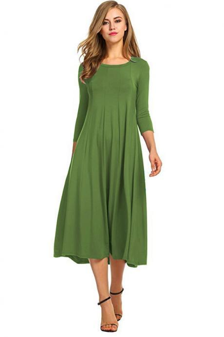 Women Casual Dress Spring Autumn Solid O Neck Long Sleeve Below Knee Loose A Line Swing Dress olive