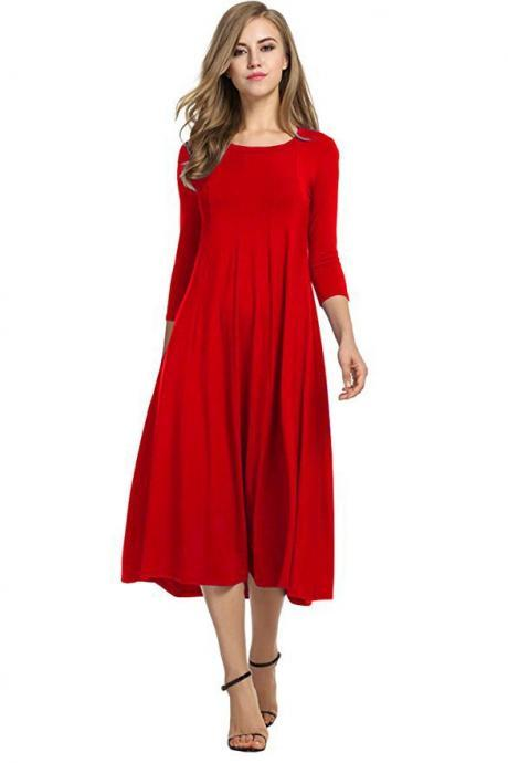Women Casual Dress Spring Autumn Solid O Neck Long Sleeve Below Knee Loose A Line Swing Dress red