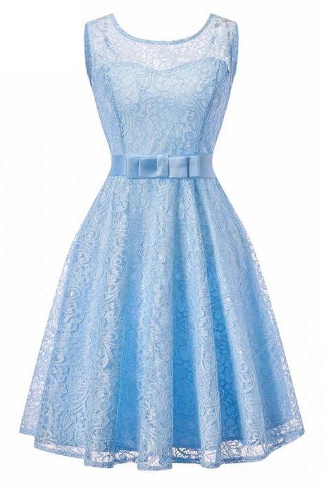 Vintage Lace Dress Sleeveless Belted Tunic Hepburn Women Cocktail Party Swing Dress light blue