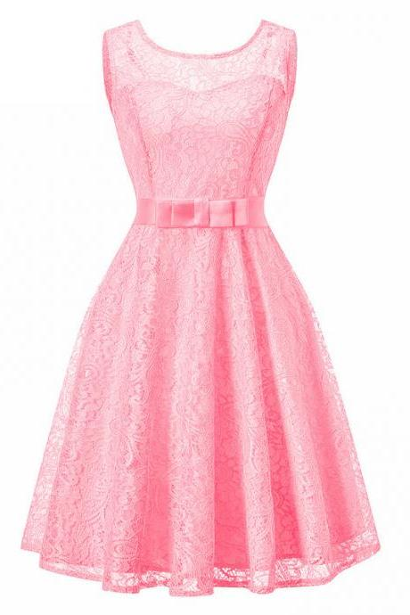 Vintage Lace Dress Sleeveless Belted Tunic Hepburn Women Cocktail Party Swing Dress pink