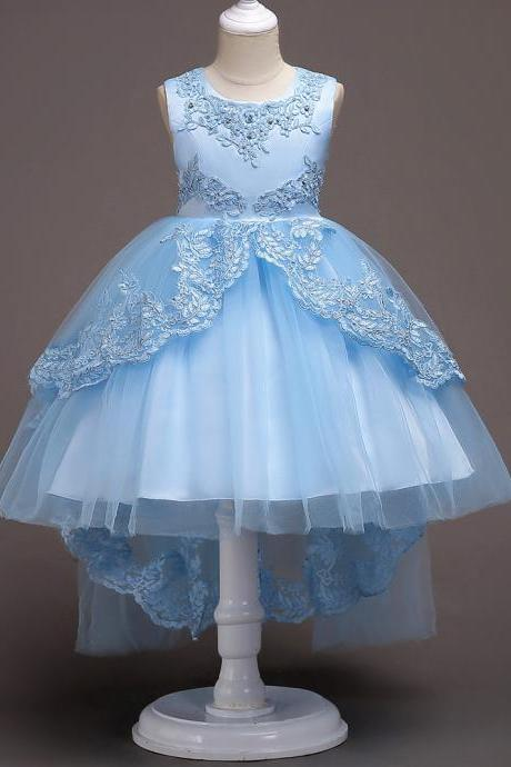 High Low Lace Flower Girls Dress Wedding Teens Prom Party Perform Gowns Kids Children Clothes light blue