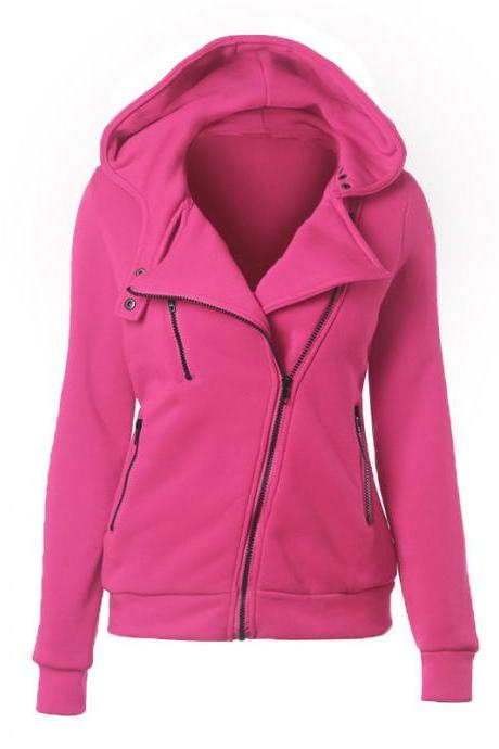 Fashion Spring Autumn Zipper Hooded Jacket Women Warm Hoodies Sweatshirts Cardigan Basic Coats Outerwear hot pink