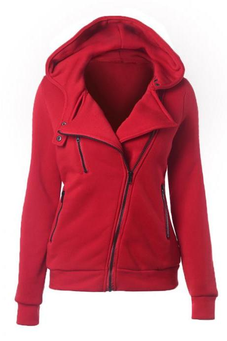 Fashion Spring Autumn Zipper Hooded Jacket Women Warm Hoodies Sweatshirts Cardigan Basic Coats Outerwear red