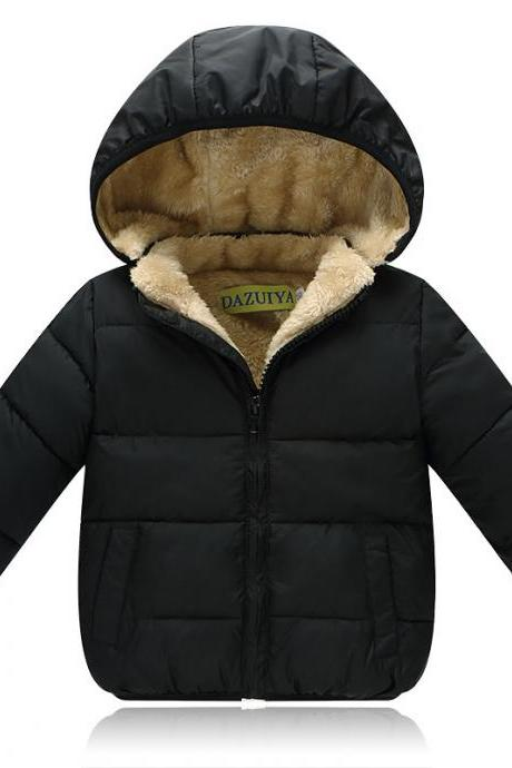 Thick Fleece Kids Winter Coat Warm Girls Boys Jackets Hooded Children Outerwear black
