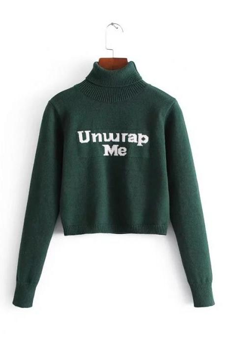 'UNWRAP ME' Forest Green Knit Turtleneck Long Cuffed Sleeves Cropped Sweater