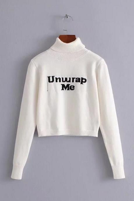 White 'UNWRAP ME' Turtleneck Long Cuffed Sleeves Sweater