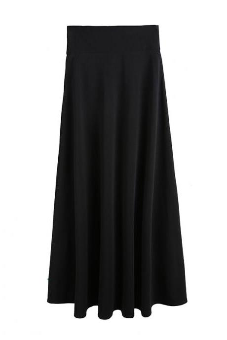 Black High Rise Ruffled A-Line Maxi Skirt, Plus Size