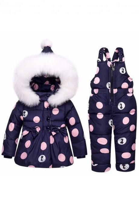 Winter Children Clothing Sets Girls Warm Parka Down Jacket Baby Coat+Pants Snowsuits Kids Suits navy blue