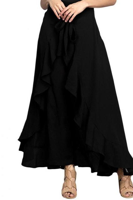 Women Wrap Skirts New Casual Fashion Tie-Waist Ruffles Wide Leg Loose Pants black