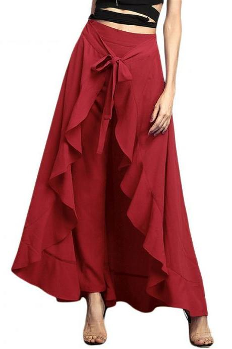 Women Wrap Skirts New Casual Fashion Tie-Waist Ruffles Wide Leg Loose Pants red