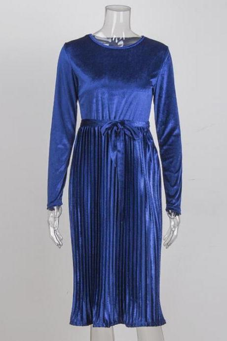 Spring Autumn Women Velvet Dress Long Sleeve O Neck Belted Midi Causal Pleated Dress blue