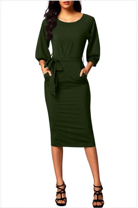 Women Midi Bodycon Dress 3/4 Puff Sleeve Pockets Belted Split Office Pencil Dress army green