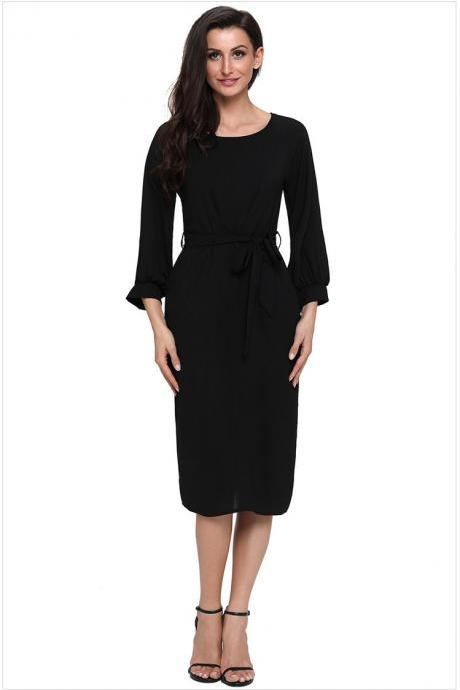 Women Midi Bodycon Dress 3/4 Puff Sleeve Pockets Belted Split Office Pencil Dress black