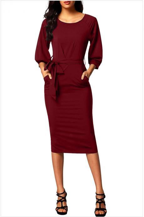 Women Midi Bodycon Dress 3/4 Puff Sleeve Pockets Belted Split Office Pencil Dress burgundy