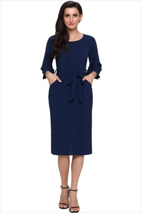 Women Midi Bodycon Dress 3/4 Puff Sleeve Pockets Belted Split Office Pencil Dress navy blue