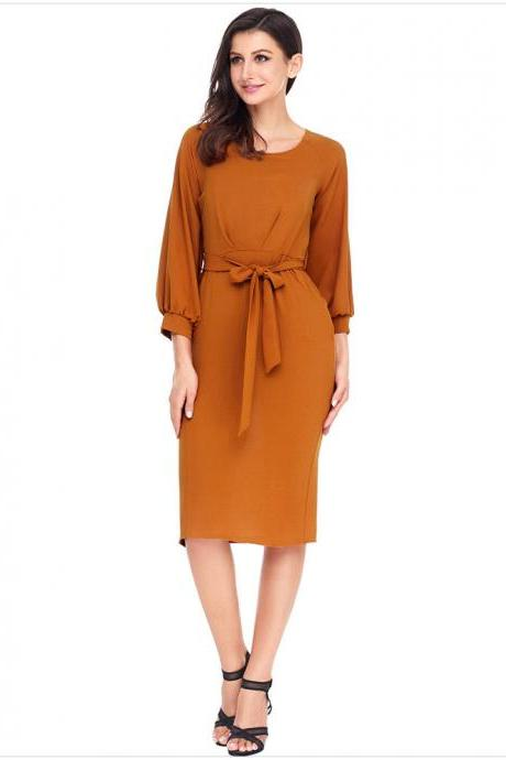 Women Midi Bodycon Dress 3/4 Puff Sleeve Pockets Belted Split Office Pencil Dress orange