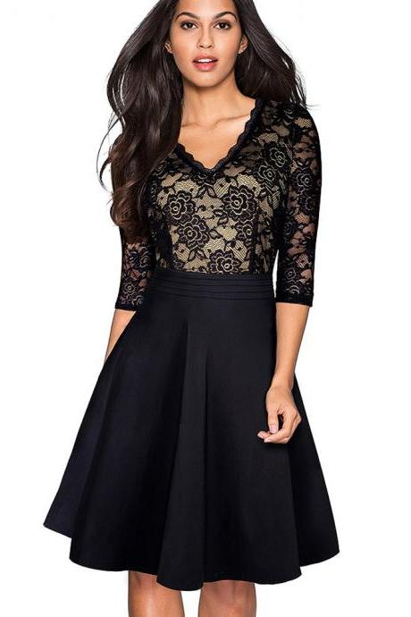 Vintage Floral Lace Dress Women V Neck 3/4 Sleeve A Line Pinup Business Cocktail Party Dress black