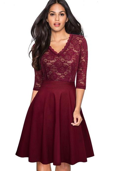 Vintage Floral Lace Dress Women V Neck 3/4 Sleeve A Line Pinup Business Cocktail Party Dress burgundy