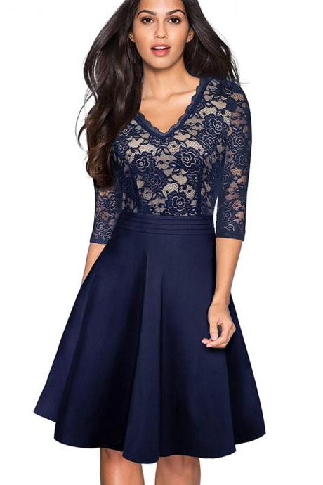 Vintage Floral Lace Dress Women V Neck 3/4 Sleeve A Line Pinup Business Cocktail Party Dress navy blue