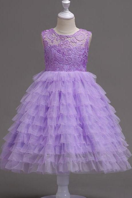 Princess Lace Flower Girl Dress Layered Tutu School Formal Prom Party Bridesmaid Gown Kids Children Clothes light purple