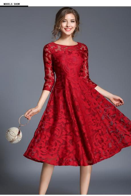 Vintage Floral Lace Dress Women 3/4 Sleeve O Neck A Line Work Casual Party Dress red