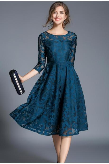 Vintage Floral Lace Dress Women 3/4 Sleeve O Neck A Line Work Casual Party Dress teal