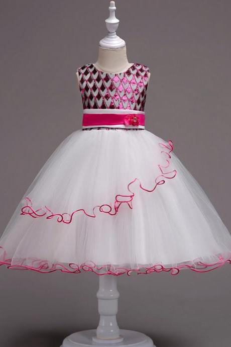 Sequin Flower Girl Dress Sleeveless Kids Birthday Perform Party Ball Gown Children Clothes hot pink