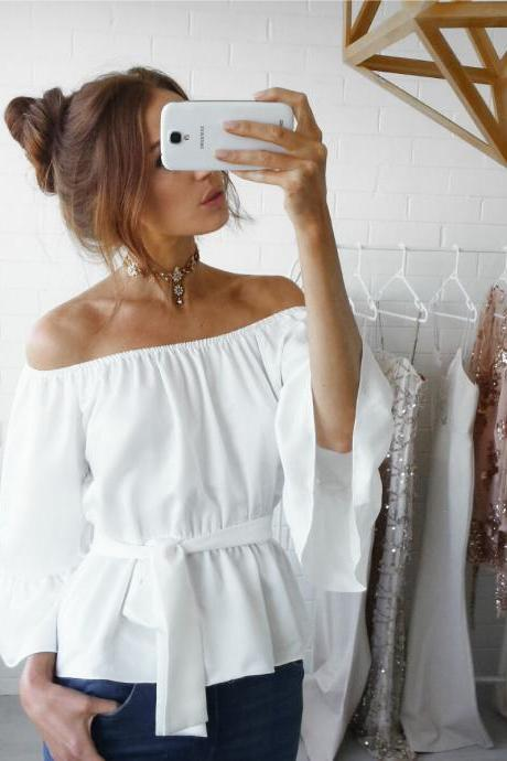 Off Shoulder Summer Blouse Shirt Slash Neck Long Sleeve Casual Ruffles Belted Women Tops white