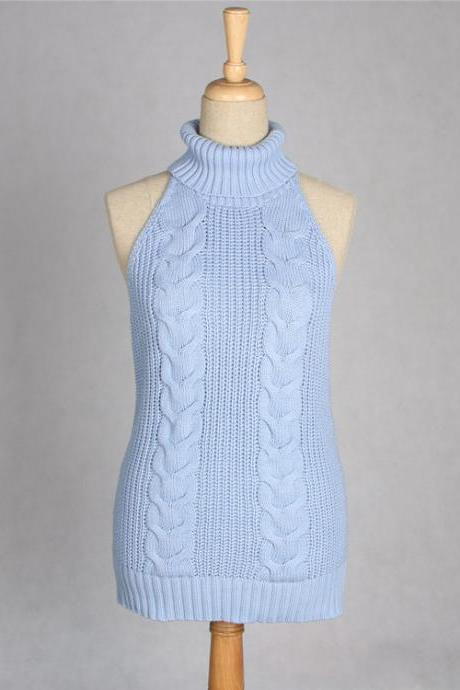 Sexy Backless Turtleneck Sleeveless Sweater Japanese Knitted Waistcoat Cosplay Vest Women Pullover baby blue