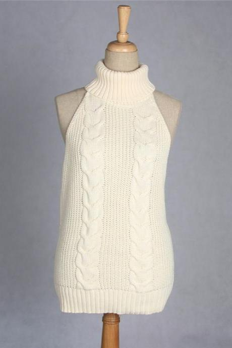 Sexy Backless Turtleneck Sleeveless Sweater Japanese Knitted Waistcoat Cosplay Vest Women Pullover cream